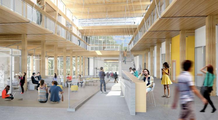 atrium, glulam, Living Building, Georgia Tech